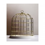 'TWITABLE' GOLD METAL BIRDCAGE WITH PORCELAIN BASE ø Cm.34 h.36