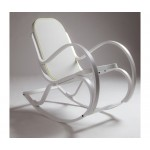 'ROCK_ME'WOODEN ROCKING CHAIR WHITE Cm54x92 h82-TEXTILE GREY/YELLOW BORD