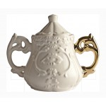 'I-WARES SUGAR BOWL' IN PORCELAIN ø Cm.13 h.15 WITH COL. HANDLES GOLD