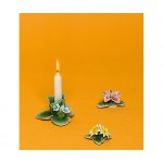 PORCELAIN CANDLE HOLDER WITH 2 FLOWERS WITH MAGNETS 'FLOWER ATTITUDE'-#2