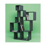 LAQUERED MODULES IN WOODEN 'ASSEMBLAGE.888', SET 8 MODULES ANTHRACITE