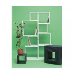 LAQUERED MODULES IN WOODEN 'ASSEMBLAGE.888', SET 8 MODULES WHITE