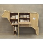 'SENDING ANIMALS' WOODEN FURNITURE Cm.225x58  h.151 - COWS