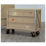 'EXPORT COMÒ' 3 DRAWERS WOODEN CHEST WITH WHEELS Cm.120x55 h.95