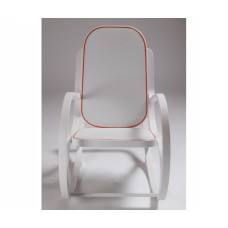 'ROCK_ME'WOODEN ROCKING CHAIR WHITE Cm54x92 h.82-TEXTILE GREY/RED BORDER