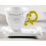 'IWARES' COFFEE SET IN PORCELAIN WITH COLOURED HANDLE - YELLOW