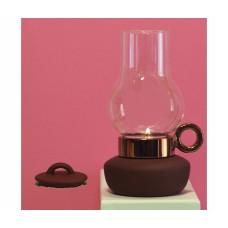 'BUGIA' PORCELAIN AND GLASS TEALIGHT HOLDER h.18 - BRONZE